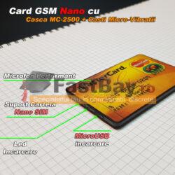 Card GSM pentru copiat cu cartela SIM si casca de copiat fara fir