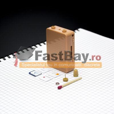 Cutiuţă GSM pentru copiat cu cartelă SIM şi cască de copiat fără fir
